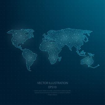 Mapa do mundo azul desenhado digitalmente