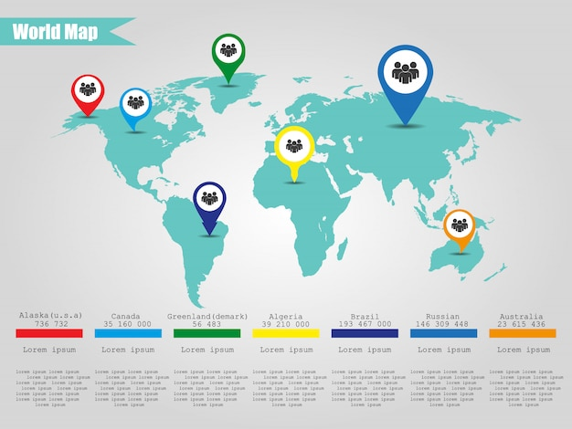Mapa do mundo colorido moderno infográfico