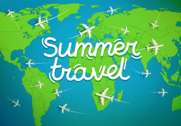 Mapa do mundo com aeronaves. viagem de verão
