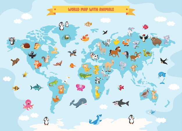 Mapa do mundo com animais dos desenhos animados