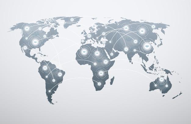 Mapa do mundo com conexões globais.