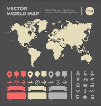 Mapa do mundo com elementos infográfico