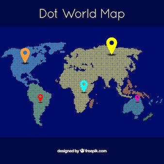Mapa do mundo com pontos e localizadores coloridos