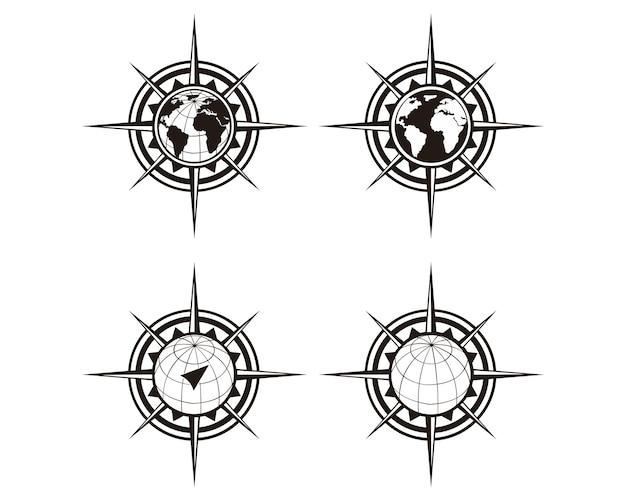 Mapa do mundo com rosa dos ventos, bússola de navegação. Vetor Premium