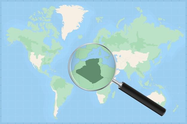Mapa do mundo com uma lupa no mapa da argélia.