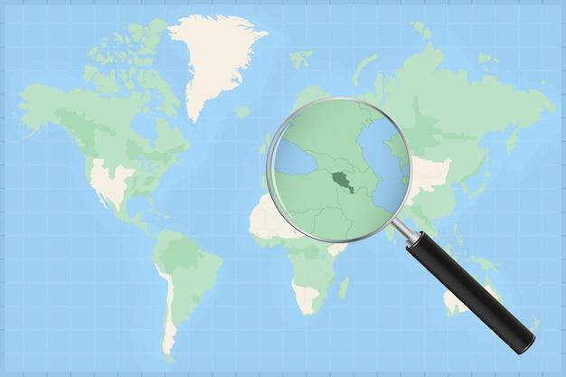 Mapa do mundo com uma lupa no mapa da armênia.