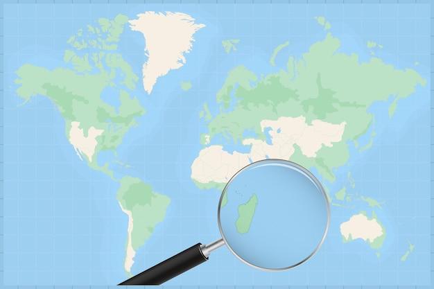 Mapa do mundo com uma lupa no mapa da maurícia.