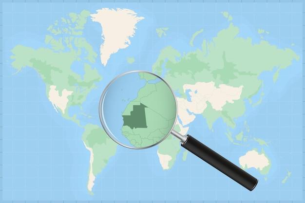 Mapa do mundo com uma lupa no mapa da mauritânia.