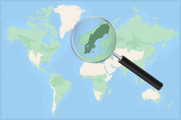 Mapa do mundo com uma lupa no mapa da suécia.