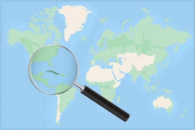Mapa do mundo com uma lupa no mapa de cuba.