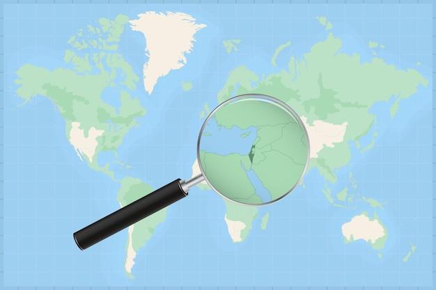 Mapa do mundo com uma lupa no mapa de israel.