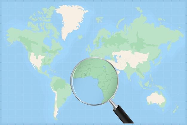 Mapa do mundo com uma lupa no mapa de são tomé e príncipe.