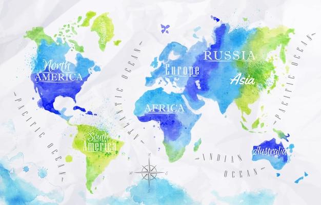 Mapa do mundo da aguarela