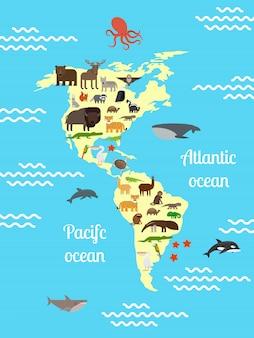 Mapa do mundo de animais da américa para crianças