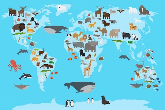 Mapa do mundo de animais