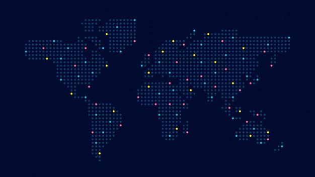 Mapa do mundo de cor pontilhada