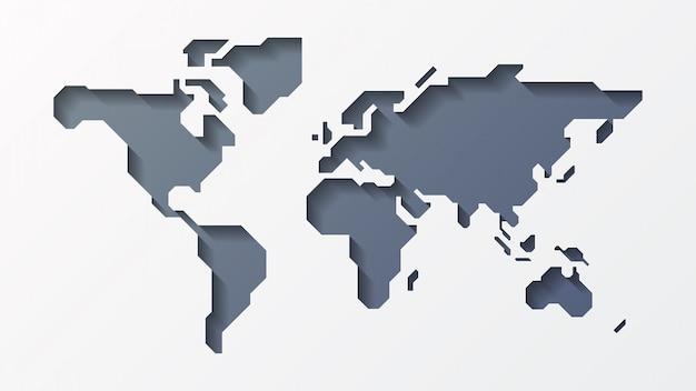 Mapa do mundo de papel 3d