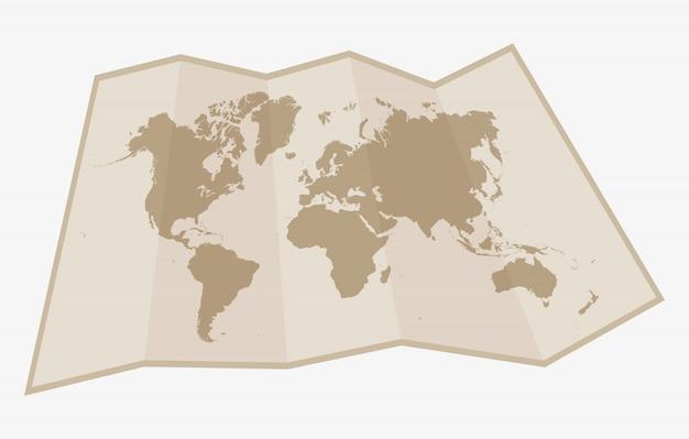 Mapa do mundo de papel
