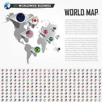 Mapa do mundo de perspectiva e pino de localização do navegador gps