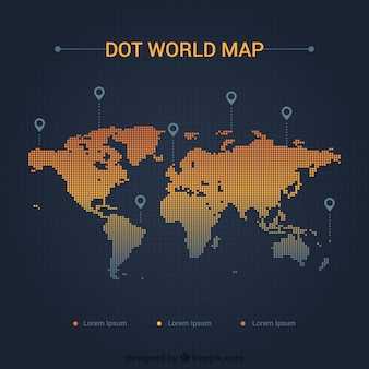 Mapa do mundo de pontos com localizadores