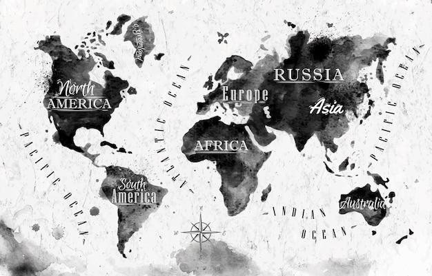 Mapa do mundo de tinta