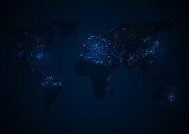 Mapa do mundo de vetor com continente
