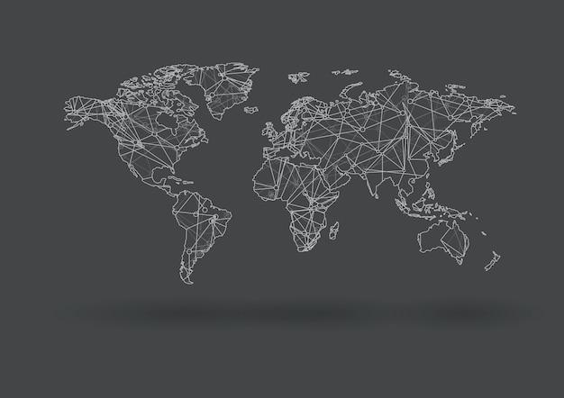 Mapa do mundo de vetor conectando pontos e linhas