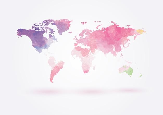 Mapa do mundo de vetor em estilo aquarela