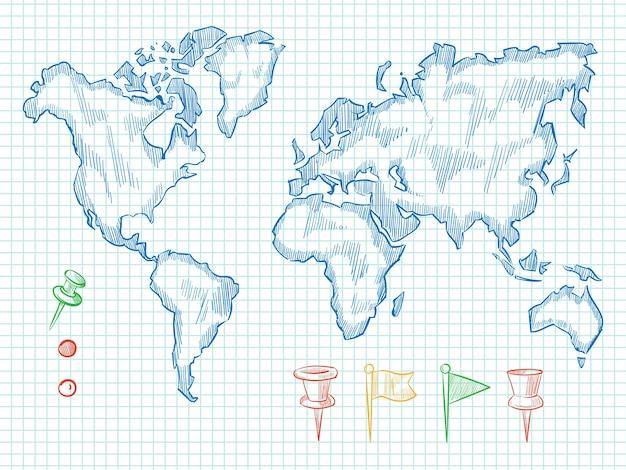 Mapa do mundo desenhado de mão