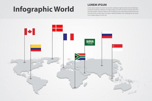 Mapa do mundo do país infográfico, bandeiras do mundo internacional