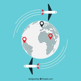 Mapa do mundo e aviões