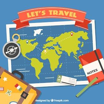 Mapa do mundo e elementos de viagem com design plano