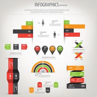 Mapa do mundo e gráficos de informação