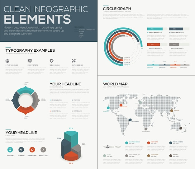 Mapa do mundo e vetor de imagens do gráfico de pizza gráfico de infografia