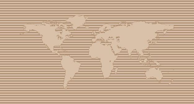 Mapa do mundo em papelão ondulado