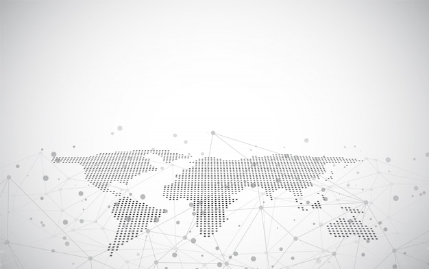 Mapa do mundo em um fundo tecnologico, linhas de incandescência símbolos do internet, rádio, negócio global.