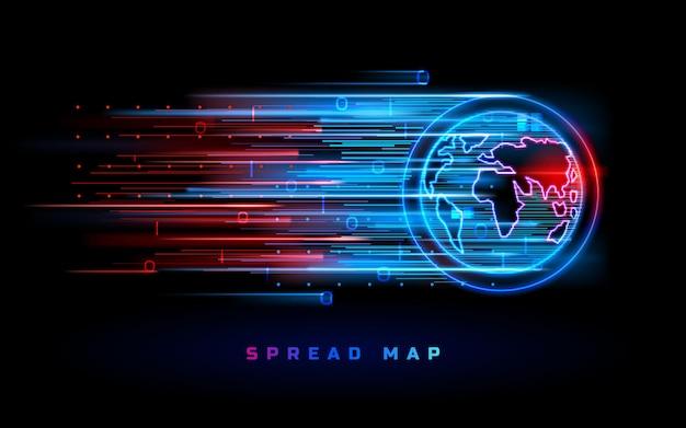 Mapa do mundo espalhou o fundo do vetor, pontos quentes de néon vermelho azul.