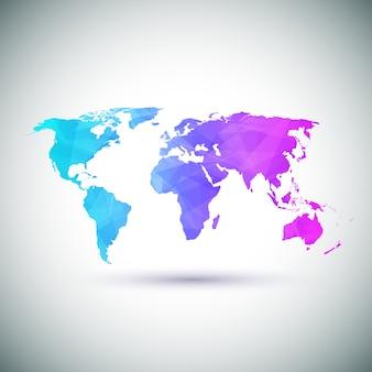 Mapa do mundo geométrico de baixo poli.