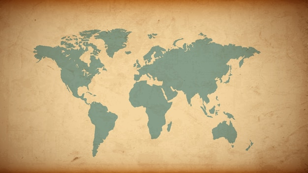 Mapa do mundo grunge em papel velho