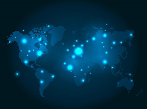 Mapa do mundo iluminado com pontos brilhantes