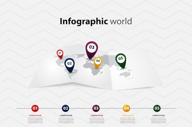 Mapa do mundo infográfico, comunicação de transporte e posição do plano de informações