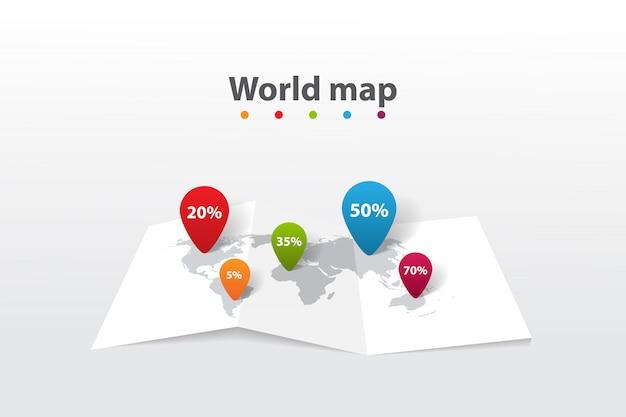 Mapa do mundo infográfico, posição de plano de informações de transporte de comunicação