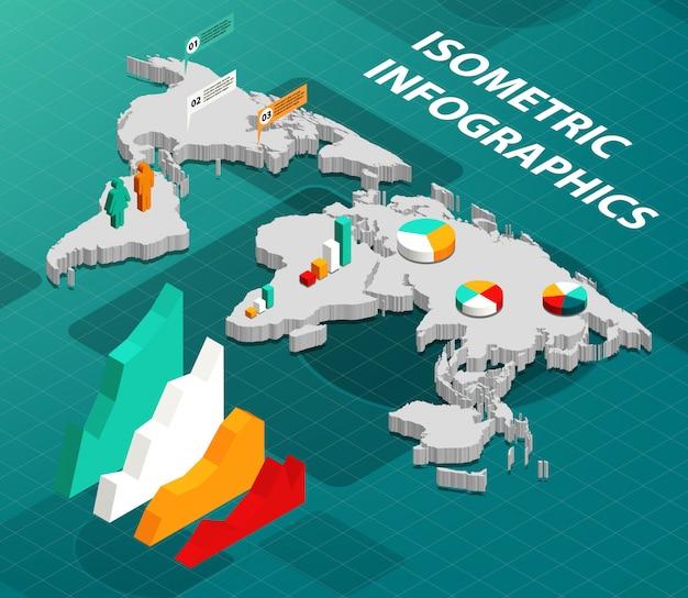 Mapa do mundo isométrico com elementos de design de infográficos de negócios
