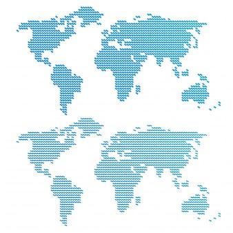 Mapa do mundo ondulado azul