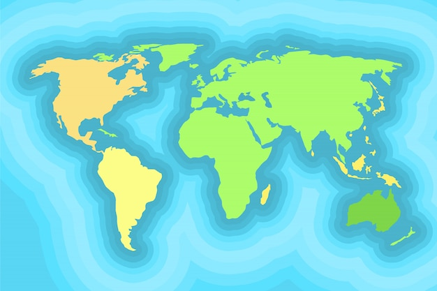 Mapa do mundo para design de papel de parede de crianças