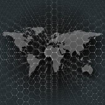 Mapa do mundo pontilhado branco, conectando linhas e pontos no fundo de cor preta