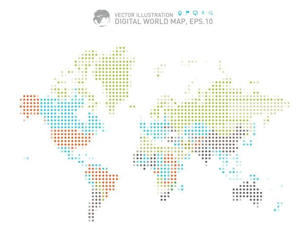 Mapa do mundo pontilhado colorido