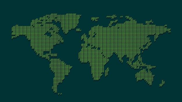 Mapa do mundo pontilhado verde