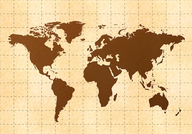 Mapa do mundo retrô em papel velho com textura
