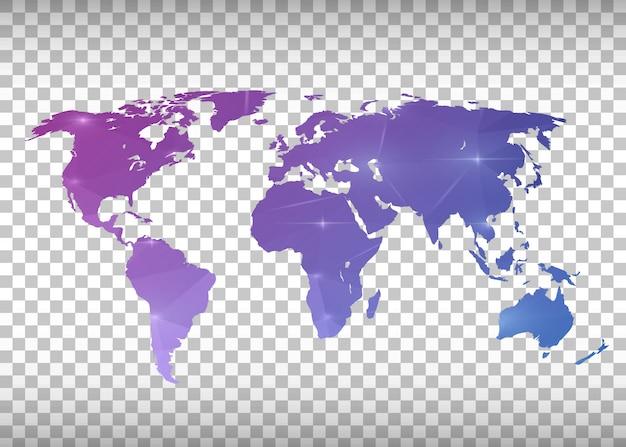 Mapa do mundo roxo transparente.
